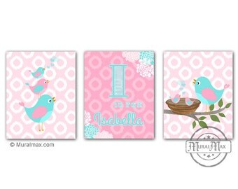Nursery Art  - Birds Nursery art Set of 3 - 8X10  Prints - Birds -  Pink and Aqua Nursery Print , Baby Girl Room Decor