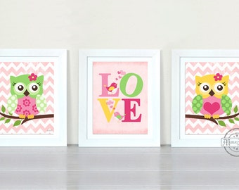 Owl Baby Girl Nursery Art Prints, Childrens Wall Art , Baby Room Decor Kids Print, Nursery Decor owl Pink Green Prints