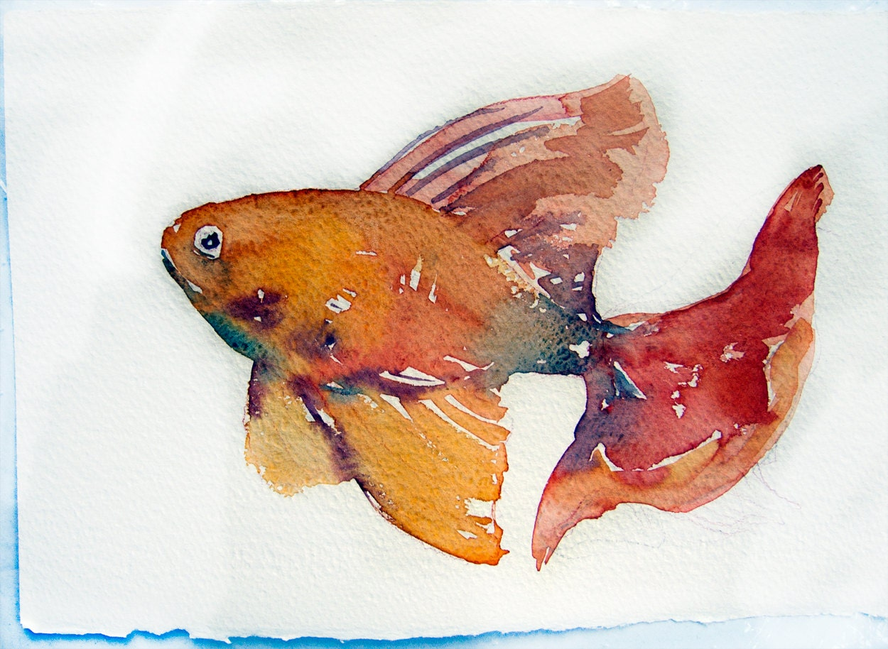Watercolor painting art original fish painting kitchen art for How to paint a fish