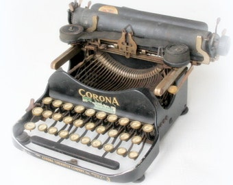 corona  vintage typewriter- antique typewriter- office collection- small black vintage typewriter