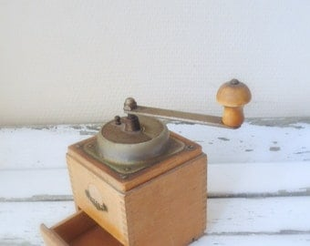 "Coffee grinder - vintage brown Dutch wood coffee mill- brandl ""Neco""- Mid Century- coffee time -industrial kitchen"
