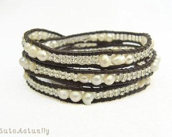 White freshwater pearl wrap bracelet with glass beads on brown leather cord