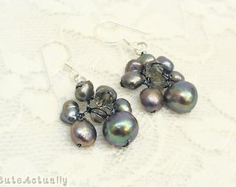 Black freshwater pearl earring with crystal on silk thread, dangle earrings