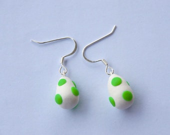 yoshi egg super mario earrings - nintendo earrings - super mario bros inspired