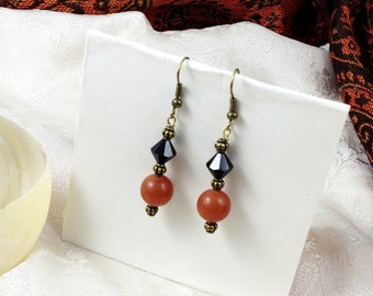 Steampunk Black, Amber and Bronze Tone Dangle Earrings Jewelry Gifts Under 10