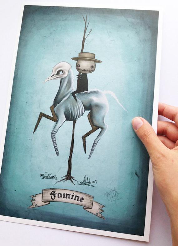 "8x12 fine art print - ""Famine"" Four Horsemen of the Apocalypse - creepy, Gothic carousel horse illustration"