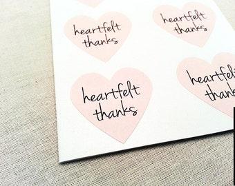48 Medium Pink Heart Stickers / Heartfelt Thanks / Envelope Seals / Heart Labels / Wedding Seals