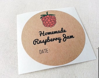 Homemade Raspberry Jam Jelly Mason Jar Labels / Canning Labels / Food Labels