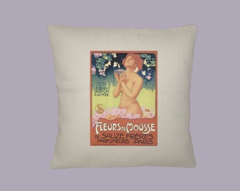 Vintage French Fleur de Mousse Parfum Ad HANDMADE 16x16  Pillow Cover - Choice of Fabric
