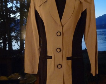 """1950s Alyn Page Jacket, Black and Tan, and Finely Tailored, 35"""" Bust"""