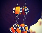 African print fabric,  Peak-a-boo dangle earrings with gunmetal finish