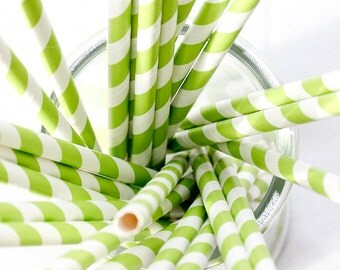 CLEARANCE - Striped Paper Drinking Straws (25) - LIME GREEN - Includes Free Printable Straw Flags