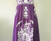 Mexican Embroidered Sundress Cotton Strapless Dress In Purple With Lining, Beach Dress, Boho Dress