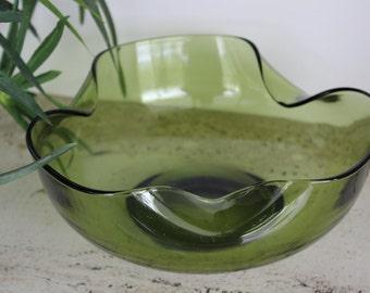Vintage Indiana Glass, Green Folded Side Bowl