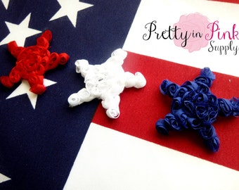 4th of July Mini Rosette Stars...Lot of 6...Shabby Stars...Chiffon...Shabby Flowers....Red White and Blue Stars