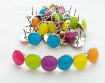 50 Colourful metal push pins - neon coloured thumb tacks - cork board accessories - office accessories - craft supplies