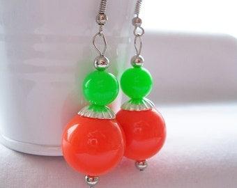 Neon retro 80's resin dangling earrings - neon earrings - resin earrings - retro 1980's earrings - neon jewelry
