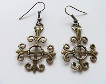 CLEARANCE - Brass ornate swirl charm earrings - brass earrings - brass charms - charm earrings - ornate brass earrings
