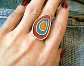 Enamel Hand Painted  Red, Blue, Orange Silver Plated, Uneven Drop Shaped Adjustable Statement Ring - zuzuzoom