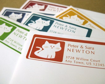 Kitty Cat Personalized Address Labels, 60 Custom Stickers in 6 colors or custom colors, Cat Return Address Label Stickers, Kitten Labels