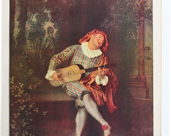 """Art on sale! Masterpiece: """"Le Mezzetin"""" By Antoine Watteau. A 1950 vintage reproduction color art print"""