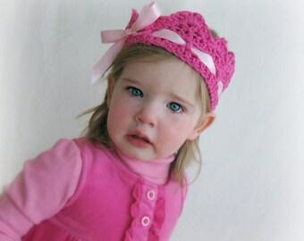 Baby Crochet Crown, Toddler Bow Crown, Girls Princess Crown, Crochet Ribbon Crown, First Birthday Crown, Baby Girl Crown, Girls Ribbon Crown