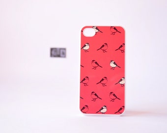 Bird iPhone 4 Case - iPhone 4s Case - Bird iPhone 5 Case - Coral iPhone Case - Bird Illustration Pattern in Coral