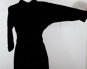 1940s, 1950s Black Velvet Jacket and Embroidered Skirt