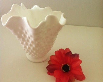 Fenton Milk Glass Hobnail Handkerchief Vase