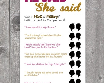 Printable He Said She Said Bridal Shower Game
