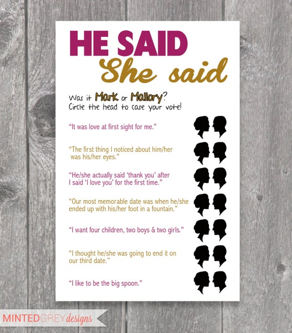 he said she said bridal shower game template - items similar to printable he said she said bridal shower