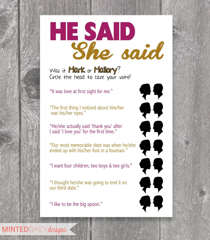 Printable He Said She Said Bridal Shower Game by MintedGreyDesigns
