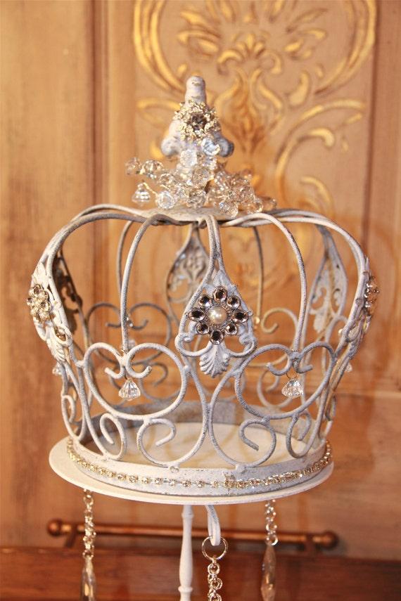 Metal Wall Crown Decor : Embellished white metal crown decorative wedding