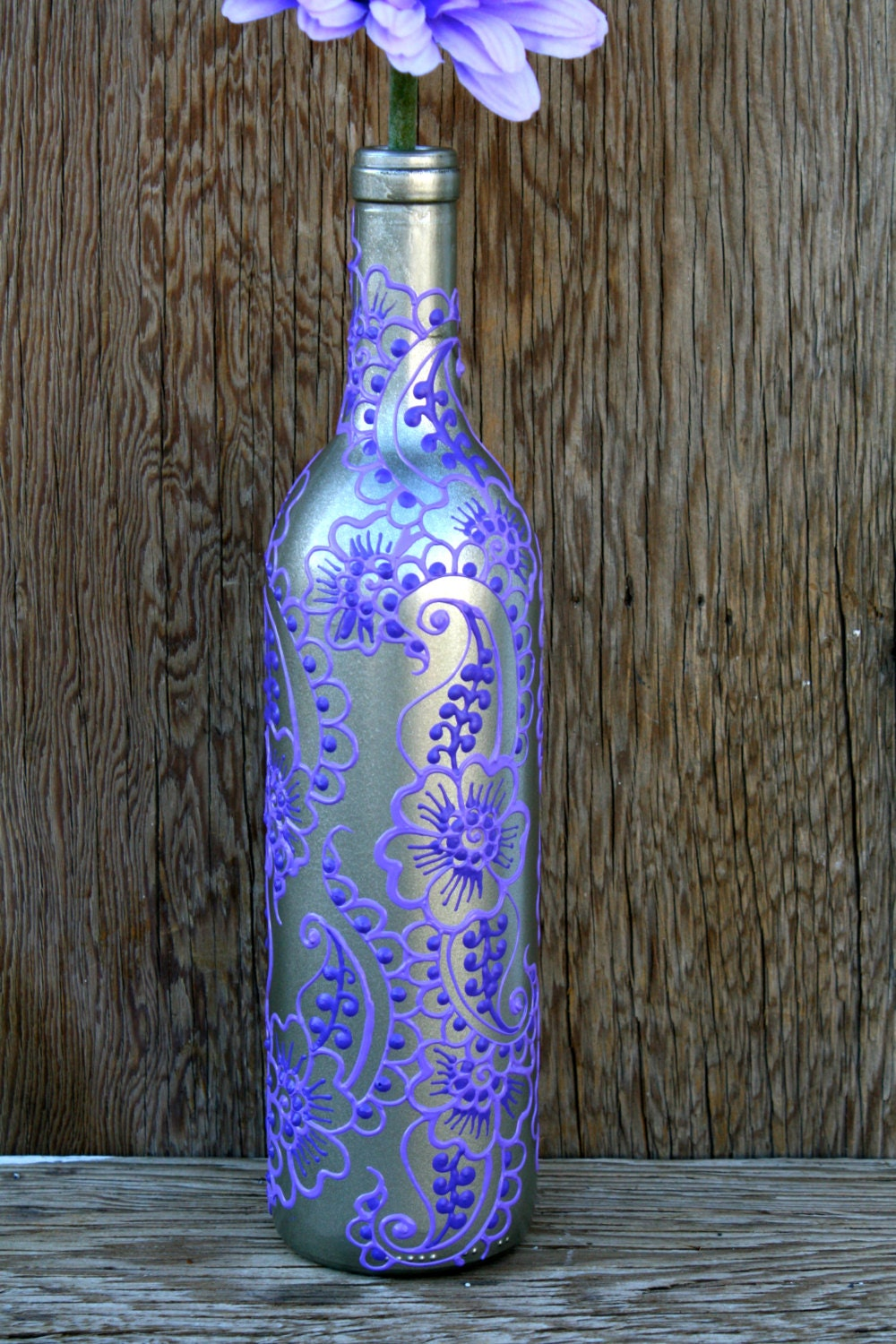 Hand painted wine bottle vase up cycled silver and by for Hand painted bottles
