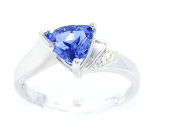 1.5 Ct Tanzanite & Diamond Trillion Ring .925 Sterling Silver Rhodium Finish
