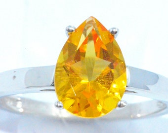 2 Carat Citrine Pear Ring .925 Sterling Silver Rhodium Finish White Gold Quality