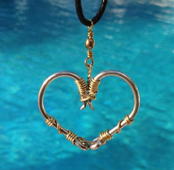 Fish hook heart necklace gold on silver hooks by for Fish hook jewelry