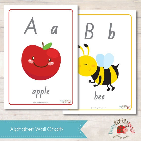 A4 Size Alphabet Wall Chart AUTOMATIC by BUSYLITTLEBUGSshop
