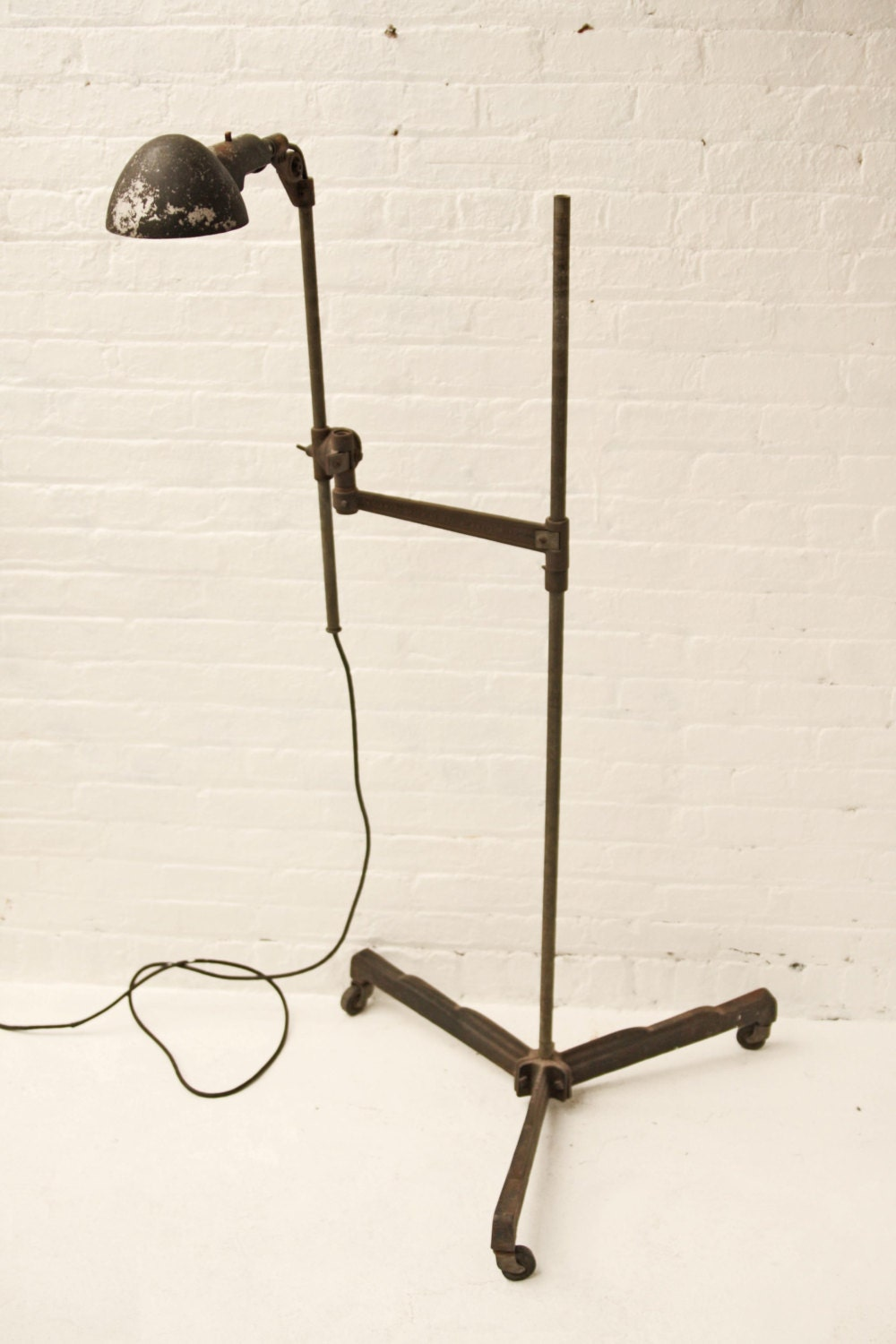 Large Industrial Age Articulating Floor Lamp by OTHERTIMESvintage