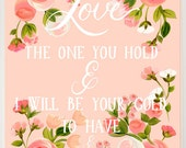 "11x14 Romantic Art Print ""Lover of The Light"" {Floral Love Art Print Mumford and Sons Quote}"