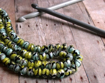 Glass Beads, Bead, Supplies, Czech glass Yellow, black Murano Czech Glass Faceted Art Beads Rondelle oval 15