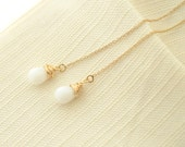 Classic White Czech Glass Drops on 14kt Gold Filled Ear Thread