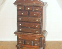 Miniature dollhouse vintage wooden highboy dresser