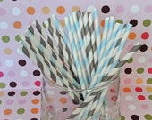 Cinderella Party Gray and Blue Party Paper Straws, Cinderella Tea Party, Princess Tea Party Decor, Cinderella Birthday, Princess Birthday