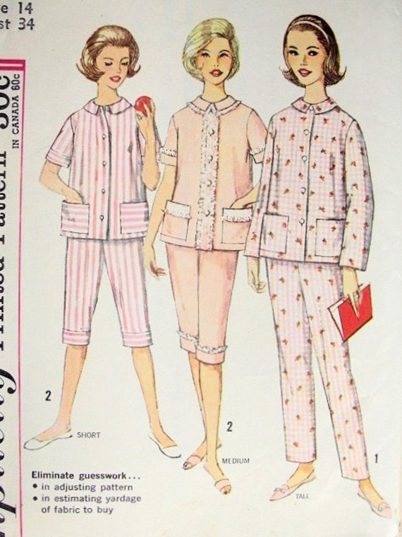 1950s Simplicity 4006 Vintage Pajamas Lingerie Sleep Wear Pattern Two Lengths Proportioned Sizes Bust 34 Vintage Sewing Pattern