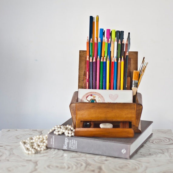 Pencil Holder Desk Organizer From A Vintage Art By CozyTraditions