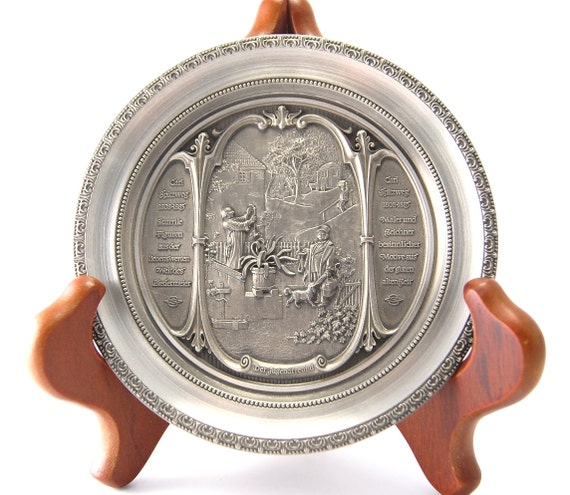 WMF Zinn Pewter Wall Decoration Plate 'Der Jugendfreund' Carl Spitzweg Vintage