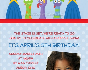 Puppet Show Photo Birthday Invitations | Custom Design | Professionally Printed Card Stock | Boy Girl Twin Sibling Stationery Best
