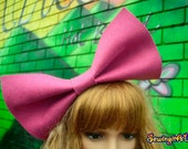 HOT pink bow headband/head piece/felt/extra large big huge birthday party hair accessory/bunny/dolly/barbie/kawaii cosplay/costume/club