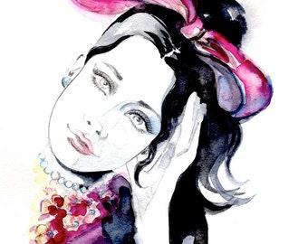 Vintage Chanel Original Painting, Fashion Watercolor Illustration by Lana Moes, Fashion Decor, Wall Art